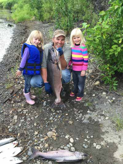 Little Kids Catching Alaska King Salmon